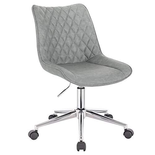 WOLTU BS121gr 1x Bürohocker Drehhocker Rollhocker Arbeitshocker Bürostuhl mit Rückenlehne höhenverstellbar drehbar aus Kunstleder Grau