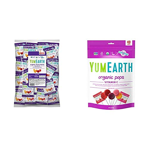 YumEarth Organic Fruit Snacks, 50 snack packs & Organic Vitamin C Lollipops, 8.5 Ounce Bag ( Packaging May Vary )