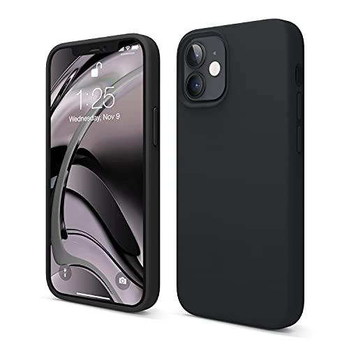 elago Liquid Silicone Case Kompatibel mit iPhone 12 Mini Hülle (5,4'), Hochwertiges Silikon, Rundumschutz Handyhülle : 3-Layer Struktur Schutzhülle (Schwarz)