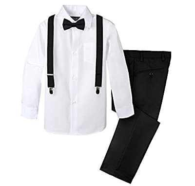 Spring Notion Boys' 4-Piece Suspender Outfit Black & White Set w/Black Suspenders 3T