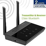 Besign BE-RTX Pro Longue Portee Adaptateur Bluetooth Transmetteur et Récepteur, aptX Low Latency, Audio Optique et RCA 3.5mm, Guidage Vocal & Ecran de Contrôle, Bypass, pour TV et appareils HiFi