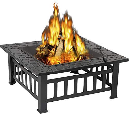 FDSAD Outdoor 32 '' Feuergrube mit Grillregal, groß 3 in 1 Feuergrube mit BBQ Grill-Regal, Außenmetall-Bellenkörper-Quadrat-Tisch-Garten-Patio-Heizung, Grill, Eisgrube
