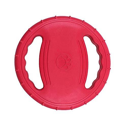 OMEM Unzerstörbare Quietschende und schwimmende Hunde-Fliegenscheibe für Outdoor-Training und Spielen, Gummi-Frisbee für große Hunde (rot)