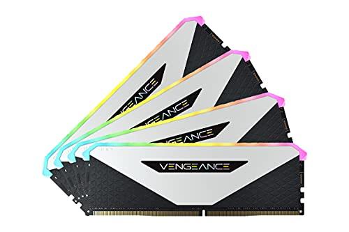 Corsair Vengeance RGB RT 64Go 4x16Go DDR4 3200MHz C16 Mémoire de Bureau Éclairage RGB Dynamique, Optimisé pour AMD 300/400/500 Series, Compatible avec Intel 300/400/500 Series White