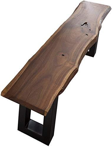 SAM Sitzbank Quentin 120x40 cm, Massive Baumkantenbank, Akazienholz, echte Baumkante, schwarzes U-förmiges Metallgestell, Holzbank ist Unikat