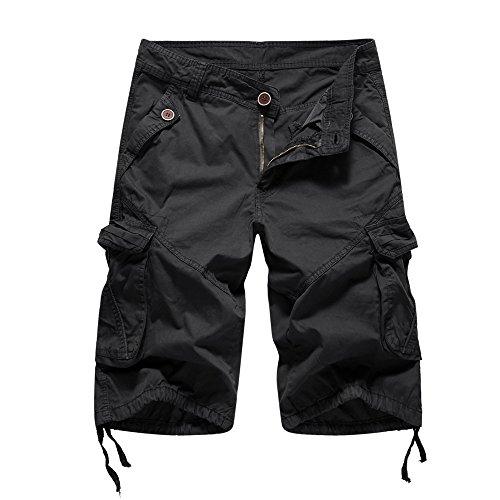 Yowablo Herren Sweatshorts Kurze Hose Jogginghose Mit Kordel Regular Fit Lässige Pocket Beach Arbeit (38,2Schwarz)