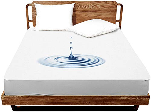 Premium Waterproof Mattress Protector,Bed Cover Pad - Smooth - Breathable (White-B, Queen 60x80)