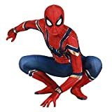 FLJLGY PS4 Iron Spiderman Adultos Chico Disfraz de cumpleaños para niños Cosplay Traje de superhéroe Halloween Disfraces de Juego de simulación Lycra Zentai Leotardo,Red-Kids XS 85~105 cm