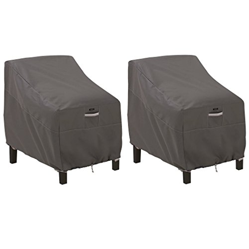 Classic Accessories Ravenna Water-Resistant 38 Inch Deep Seated Patio Lounge Chair Cover, 2 Pack