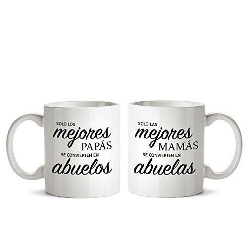 Juego de Dos Tazas de Cerámica Personalizadas Blancas con Mensaje – Taza de Graduación para Abuelas y Abuelos – Taza de Café como Regalo del Día de la Madre o del Padre – Regalo de Boda