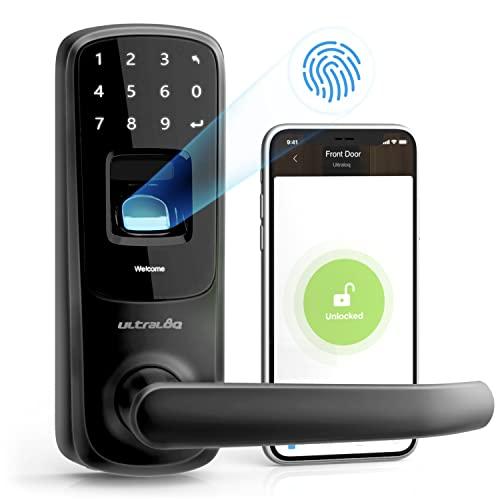 ULTRALOQ UL3 BT 2nd Gen Smart Lock (Black), 5-in-1 Keyless Entry Door Lock with Bluetooth, Biometric Fingerprint and Touch Digital Keypad, Smart Door Lock Latch Edition