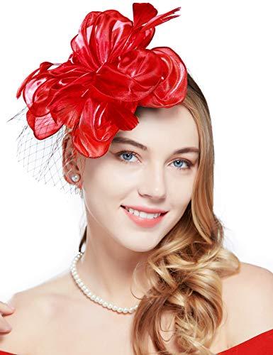 Coucoland Fascinators voor dames, elegante bloemenveren, fascinator, haarband voor bruiloft, cocktail, thee, party, derby, haarhoofd, accessoires, carnaval, kostuum accessoires