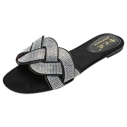 Black Open Toe Rhinestone Double Strap Sandals