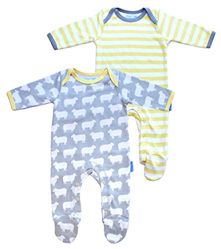 Toby Tiger 100% Organic cotton 2 pack sheep and stripe printed sleepsuit with feet. - Combinaison - Col Rond - Manches Longues - Mixte bébé - Multicolore (Multicoloured) - 12 mois (Taille fabricant: 6-12 Months)