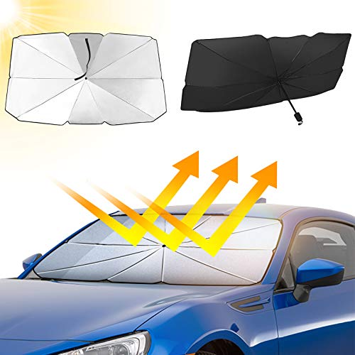 Car Windshield Sun Shade, Foldable Reflector Umbrella, Blocks UV Rays Sun Visor Protector, Sunshade To Keep Your Vehicle Cool And Damage Free, Easy To Use, Fits Windshields of Size 49.2 x 25.6 Inch