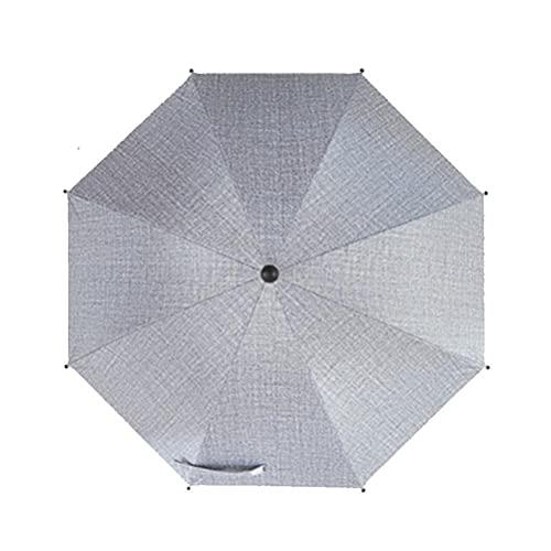 AoFeiKeDM Paraguas grande de tela Oxford, ligero, para cochecito de niños, plegable, protección UV, visera de verano, ideal para viajes al aire libre, senderismo, parque, gris, M