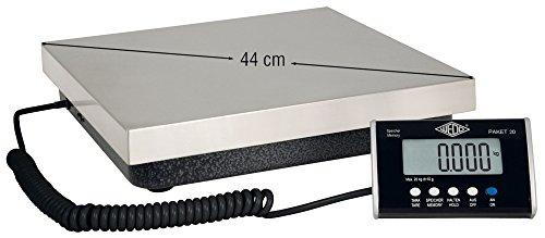 Wedo 50775020 Paketwaage Waage Paket (50 kg, 20 g - Teilung, inkl. Netzgerät, Wiegeteller, aus rostfreiem Edelstahl, separates Anzeigengerät, mit Wandhalterung)