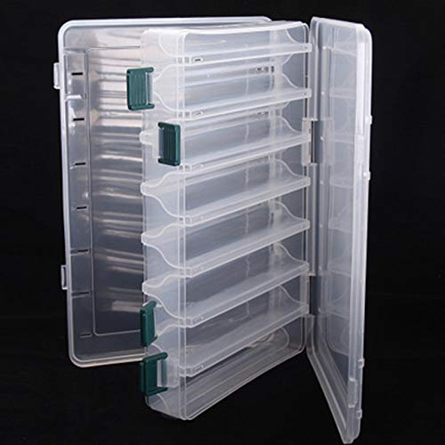 mohito Boite de leurres Transparent,Boîte à Outils de Pêche 14 Compartiments Boîte De Rangement Plastique De Peche Boite De Leurres Double Faces Boîte d'accessoires Conteneur de Leurre(27x17x4,7cm)