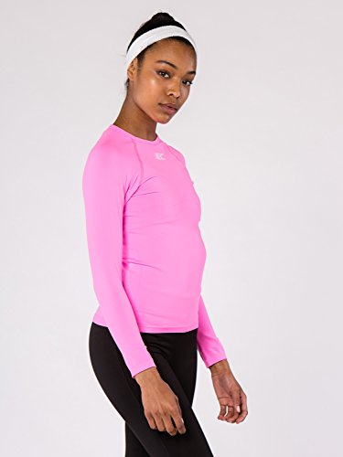 BODYCROSS T-Shirt Compression Manches Longues Femme Eleni Rose Running, Trail, Training - Polyamide Skinlife/Élasthane - Col Rond, Coupe Compression, Evacuation Rapide Transpiration