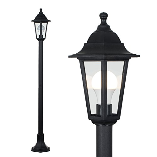 Traditional Victorian Style 1.2m Black IP44 Outdoor Garden Lamp Post Bollard Light