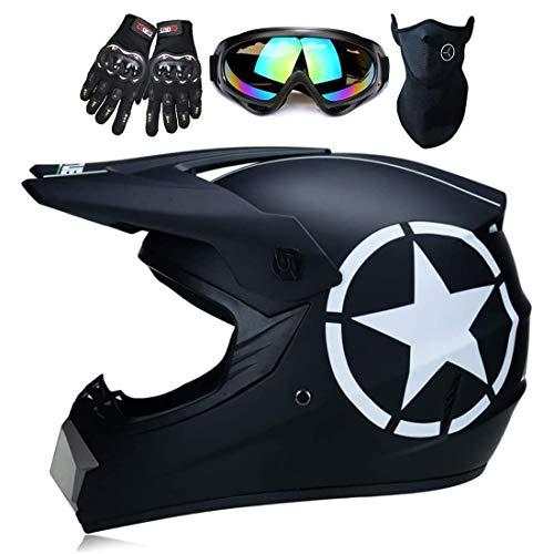 Black Star Casco integral con máscara, guantes, MTB, motocicleta para adultos, conjunto...