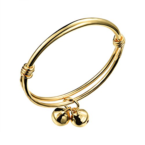 COCO Park Healthy Children Jewelry 18K Gold Plated Cuff Bangle Bell Charm Adjustable Bracelet Anklet