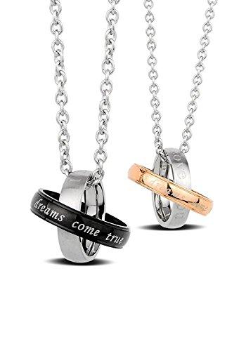 Babylover Lot de 2 colliers à pendentif en acier inoxydable Gravure Dreams Come True 45 cm et 51 cm