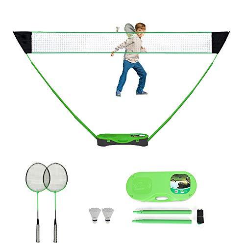 FBSPORT Juegos completos de bádminton,Redes de bádminton portátil Set,Tenis,bádminton,Red de Voleibol con Base Independiente-Configuraciones en Cualquier Superficie en Segundos