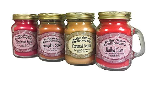 4 Pack Fall Assortment Mini Mason Jar Candles - 3.5 Oz Caramel Pecan, 3.5 Oz Mulled Cider, 3.5 Oz Pumpkin Spice, 3.5 Oz Macintosh Apple, by Our Own Candle Company