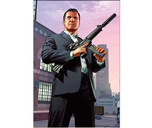 PCWDEDIAN Grand Theft Auto V Videospiel GTA 5 Print Poster Wandkunst Leinwand Malerei Für Wohnzimmer Home Decor Yu308 40X50Cm