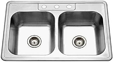 Houzer 3322-8BS3-1 Glowtone Series Topmount Stainless Steel 3-hole 50/50 Double Bowl Kitchen Sink, 8-Inch Deep