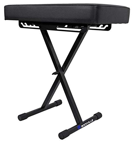 Rockville Extra Thick Padded Foldable Keyboard Bench w/Quick-Release (RKB61)