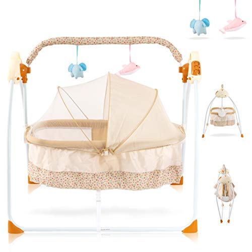 Baby Cradles Bedside Bassinet - Portable Crib Easy to Assemble Rocking Bassinet with Breathable Net Detachable Washable Mattress Foldable Design Lightweight Baby Bassinet and Newborns Bassinet, Khaki