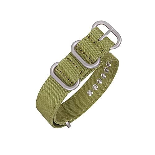 Toile en nylon Boucle de Bracelet Bague Nato Bracelet, Armée Vert Argent, 18mm