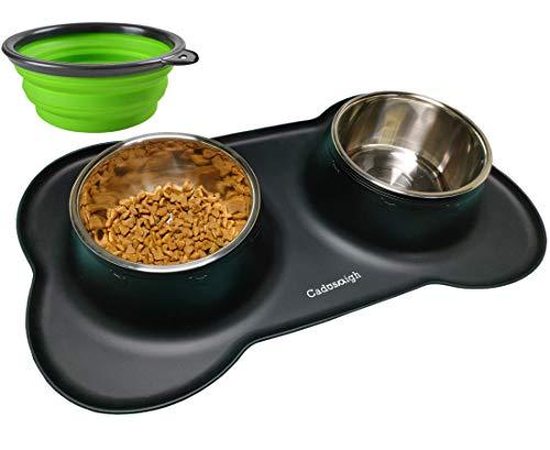 Cadosoigh Comedero para Gatos Perros Mascotas de Acero Inoxidable (750ml*2) con Base...