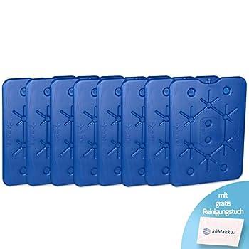Lot de 8 Blocs réfrigérants Plats de 800 g pour congélateur, glacière et glacière - Capacité de Refroidissement de 12 h - Bleu - avec Chiffon de Nettoyage Inclus