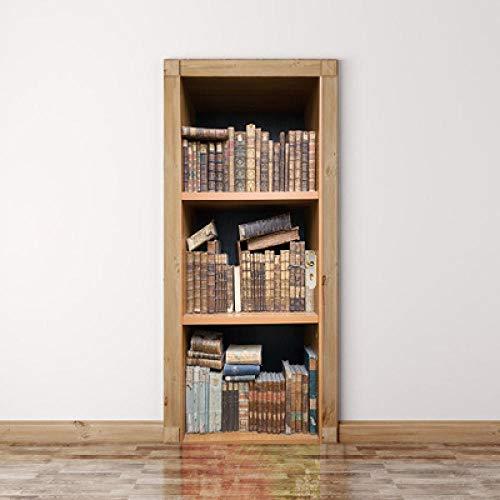 Door Vintage Bookcase Home Decoration Wall Art Murals Decals Living Room Nursery 3D Door Art Removable Door Decals 30.3'x78.7'(77x200cm), 2 Pieces Set-Paper Lantern
