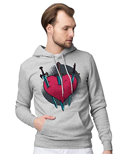 BLAK TEE Homme Cruel and Painful Love Heart Illustration Sweat a Capuche XL