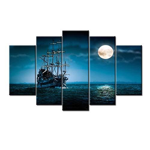 SailorMJY Vlies Leinwandbild,Deko Kunstdrucke, Moon Blue Sea und Boot 5 Panel Wandkunst Malerei Home Office Wohnzimmer Schlafzimmer Wanddekoration Malerei kein Rahme