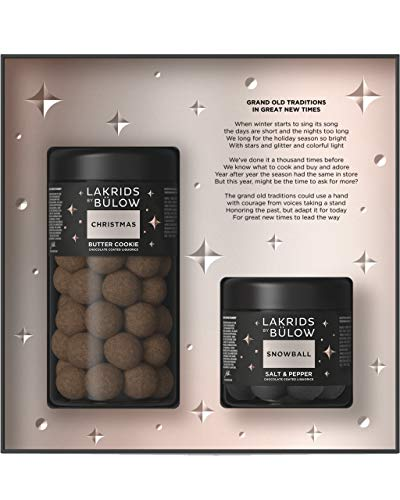 LAKRIDS BY BÜLOW - Black Box - 420g - Christmas (Butter Cookie) + Snowball (Salt & Pepper) - Dänische Gourmet Lakritze in hochwertiger Geschenkbox