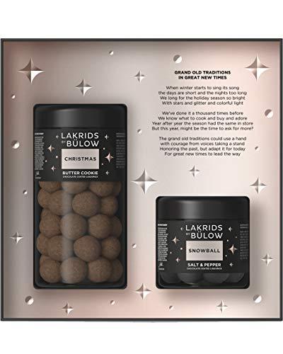 LAKRIDS BY BÜLOW - Winter Black Box - 420g - Christmas (Butter Cookie) + Snowball (Salt & Pepper) - Dänische Gourmet Lakritze in hochwertiger Geschenkbox