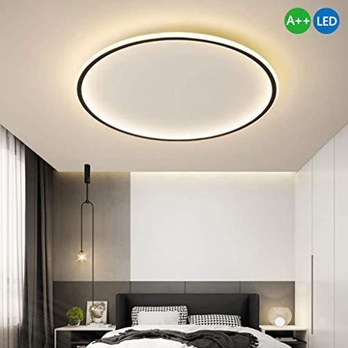 Plafonnier LED Ronde Moderne Minimaliste Mode Lampe Plafond Noir Cadre Acrylique Lampe De Plafond Pour Vivre Lampe Chambre Salle D'étude Lampisterie Éclairage Plafond Bureau Villa,60cm/3000k/70w