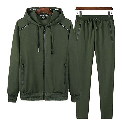 THWJSH Suéter casual de dos piezas, para exteriores, pantalones clásicos con cremallera completa, forro polar cálido con capucha, verde militar, M