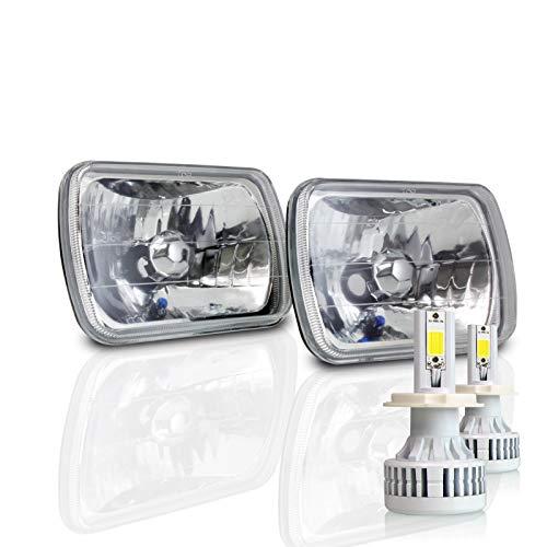 7x6 Inch Sealed Beam Headlight Conversion - fits H6054 H6052 H6014 - Clear Glass Diamond Cut Housing + H4 LED Kit 6000K Cool White 8000 LM