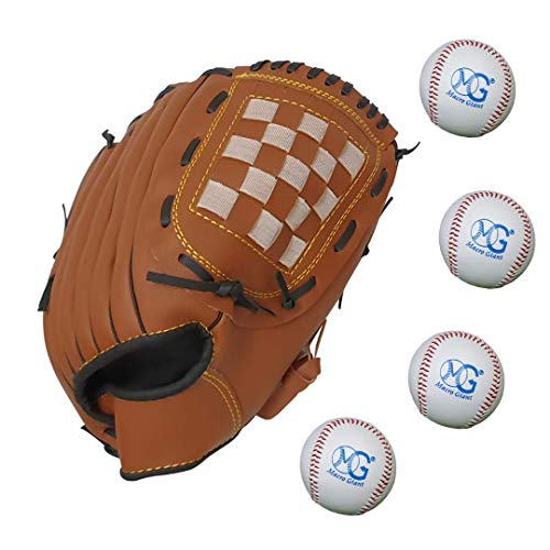 Macro Giant Baseball Glove Set, 1 11.5 Inch Brown Gloves, 4 Baseballs, Right Hand Throw, PU Leather, Fielding Glove Mit, for Kids