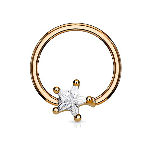 PiercedOff 316L Surgical Steel IP Rose Gold BCR Captive Ring with Clear...
