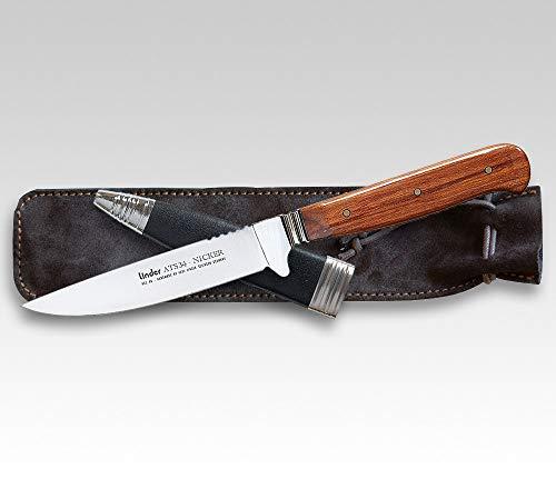 Linder Solingen Jagdmesser ATS 34 Nicker Cherry, Klinge: 10,3 cm, Stahl: ATS34, Outdormesser, 166510| Messer für, Camping, Abenteur Liebhaber, Angeln