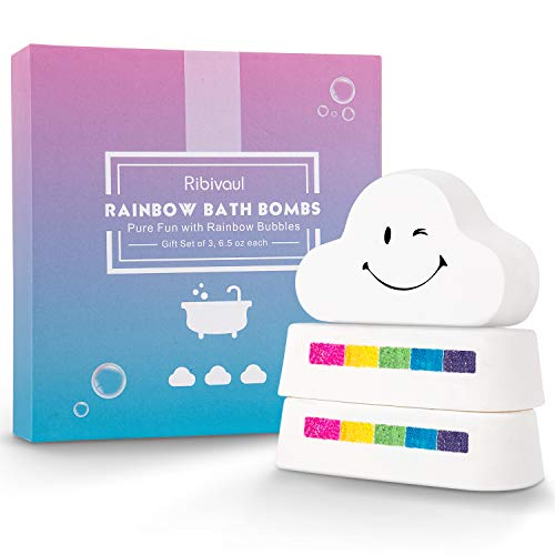 Rainbow Bath Bombs Gift Set, Ribivaul 3 Extra-Larege 6.5 oz Handmade Bath Bombs with Natural Ingredients, Cloud Bath Bomb with Colorful Bubbles for Kids/Women, Great Gift Idea for Halloween, Christmas