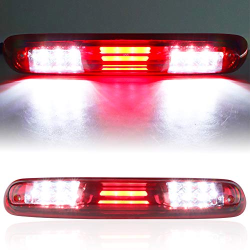 For 2007-2013 Chevy Chevrolet Silverado/GMC Sierra 1500 2500HD 3500HD 3D LED Bar 3rd Third Tail Brake Light Rear Cargo Lamp High Mount Stop light Electroplating Housing (Red)