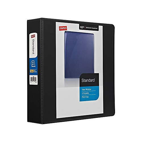 Staples 976177 2-Inch Staples Standard View Binder with Round Rings Black